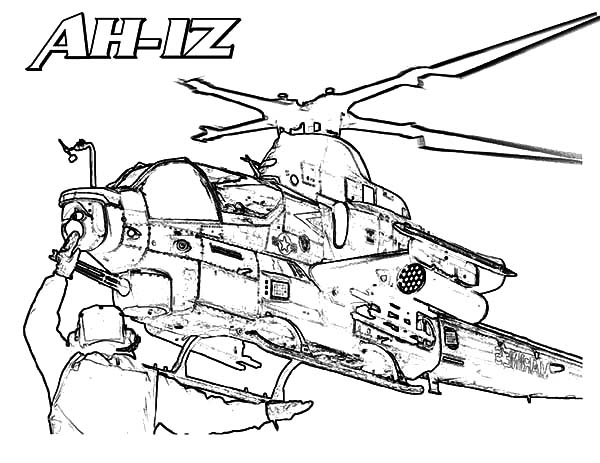 AH 1Z Apache Helicopter Coloring Pages