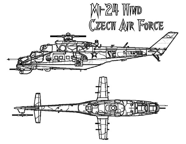 Helicopter Hind Mi 24 Apache Coloring Pages