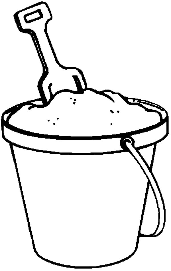 Fill Beach Bucket with Sand Coloring Pages: Fill Beach Bucket with ...
