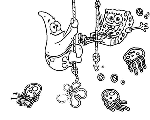 Best Friends Sponge Bob and Patrick at Jellyfish Garden Coloring ...