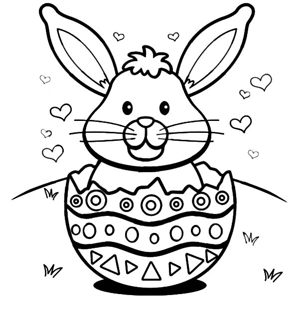 Easter Bunny with Hearts in a Broken Egg Shell Coloring Pages ...