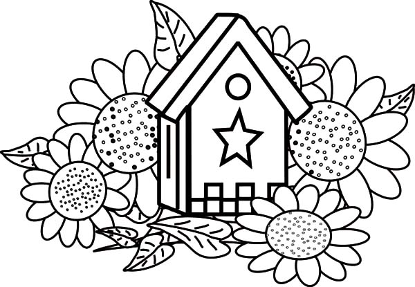 Free Coloring Pages Bird Houses. Download  Bird House and Sunflowers Coloring Pages