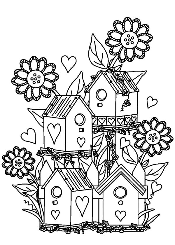 Free Coloring Pages Bird Houses. Download  Bird House at Flower Garden Coloring Pages