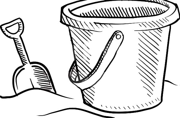 Beach Bucket And Shovel Sketch Coloring Pages