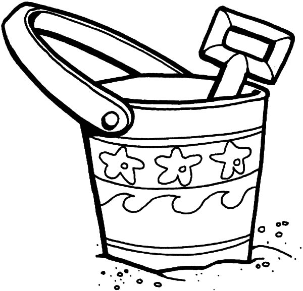 Bucket And Shovel On The Beach Coloring Pages