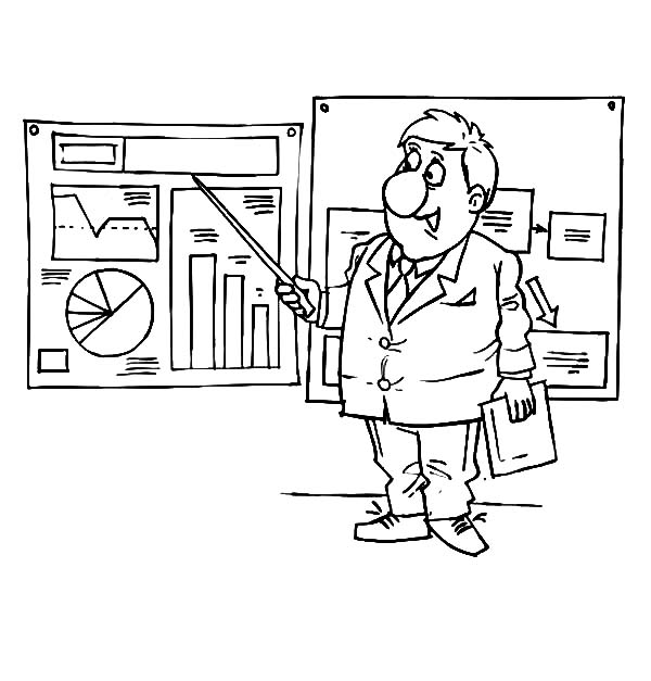 Businessman Presenting Graphs And Charts Coloring Pages Businessman