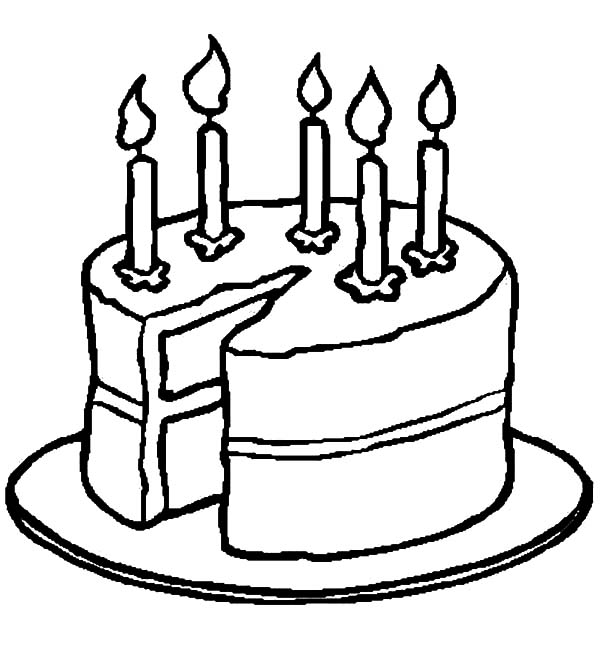 Birthday Cake Slice Coloring Pages