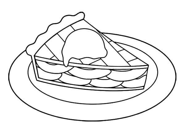Sweet Cake Slice Apple Pie Coloring Pages