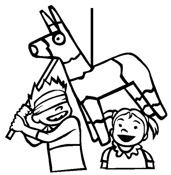 Boy about to Hit the Pinata in Cinco de Mayo Coloring Pages: Boy ...
