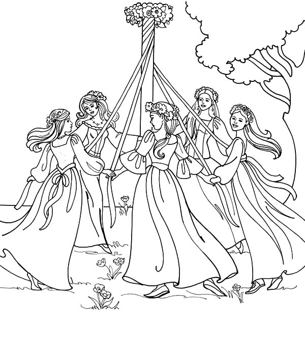 Maypole Dancing on May Day Coloring Pages Maypole Dancing on May