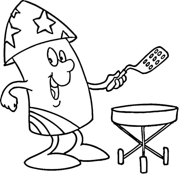 Mr Firework Cooking for 4th July Independence Day Coloring Page ...