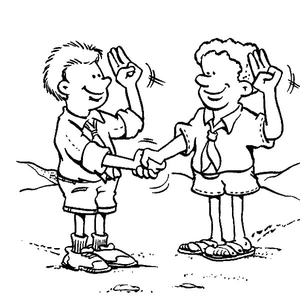 Scouting Way of Greeting People Coloring Pages: Scouting Way of ...