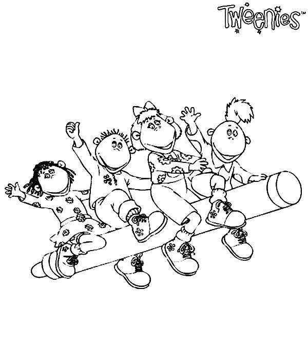 Tweenies Characters Ride a Crayon Coloring Pages: Tweenies ...