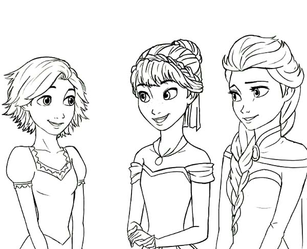 Rapunzel is Princess Anna and Queen Elsa Cousin Coloring Pages