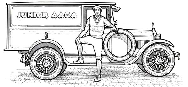Antique Car, : 1925 Dodge Antique Car Coloring Pages
