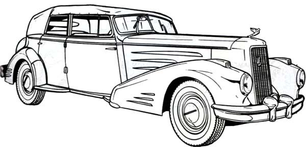 Antique Car, : 1936 Cadillac Antique Car Coloring Pages