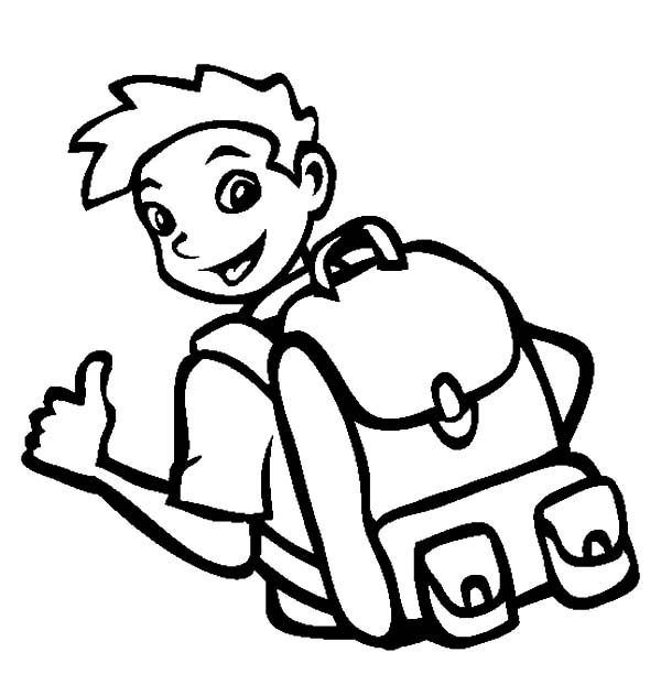 Backpack, : A Boy Wear Cool Backpack Coloring Pages