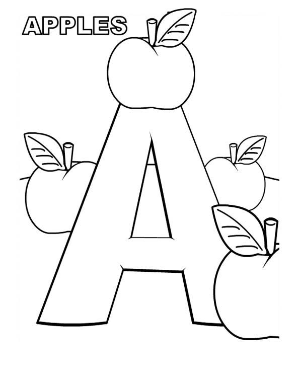 A For Apple On Learning Letter A Coloring Page Best