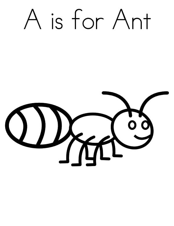 Ants, : A is for Ants Coloring Pages