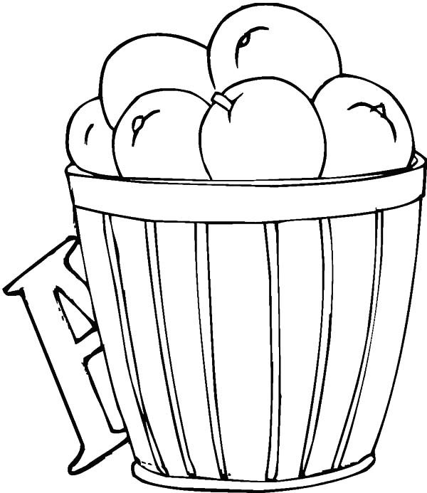 Apple Basket, : A is for Apple Basket Coloring Pages