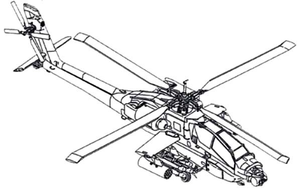 AH 64A View Apache Helicopter Coloring Pages