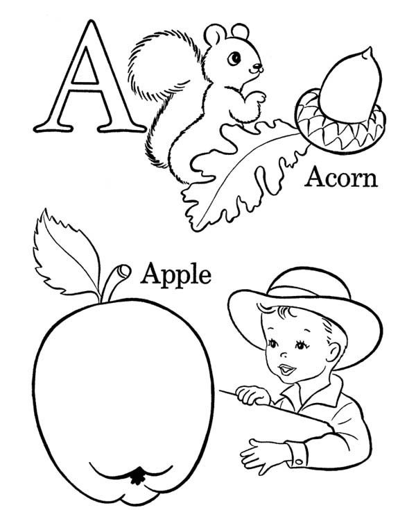 Letter A, : Acorn and Apple on Learning Letter A Coloring Page