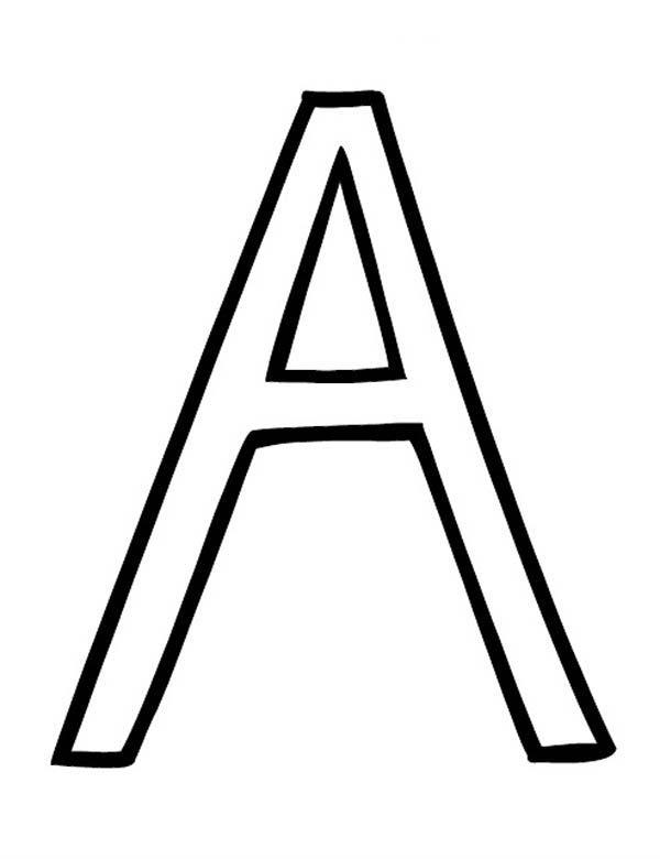 Letter A, : Alphabet Letter A Upper Case Coloring Page