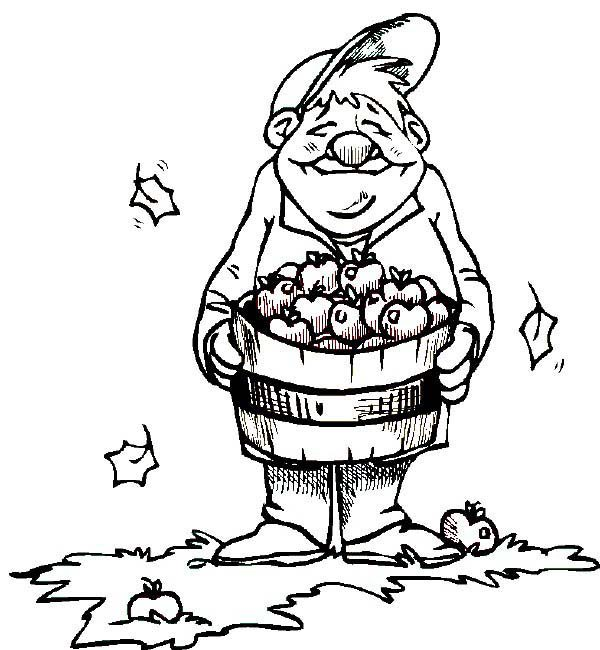 Apple Basket, : An Old Man Holding Apple Basket Coloring Pages