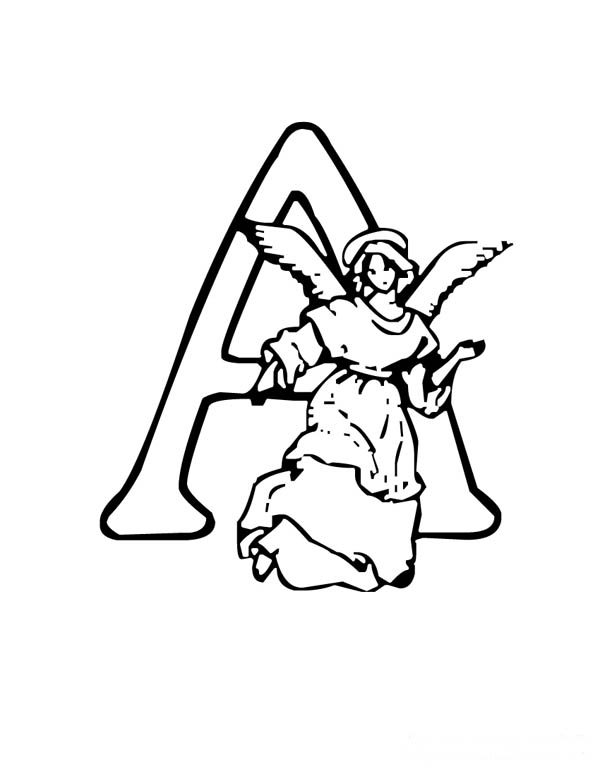 Letter A, : Angel for A on Learning Letter A Coloring Page