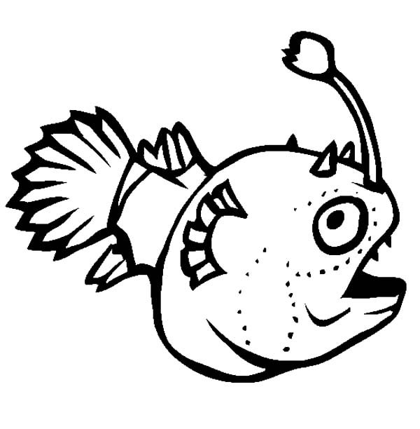 Angler Fish, : Angler Fish Luminous Luring Prey Coloring Pages
