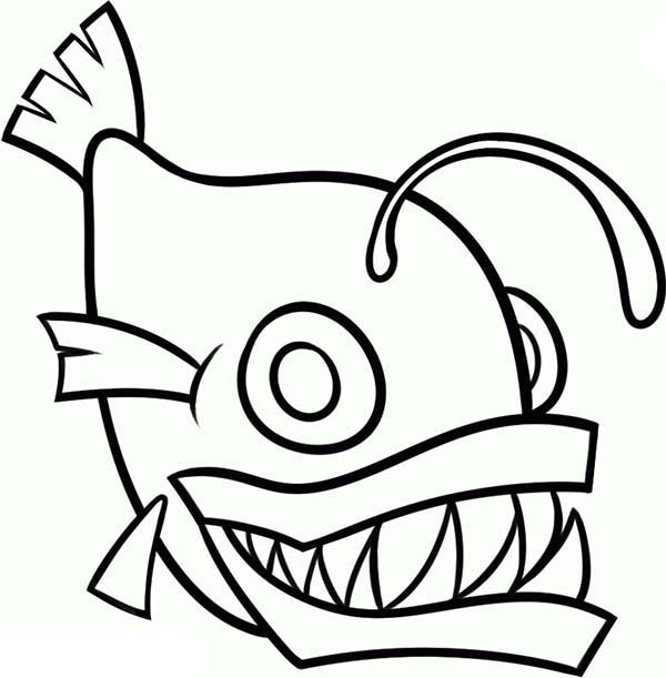 Angler Fish, : Angler Fish Outline Coloring Pages