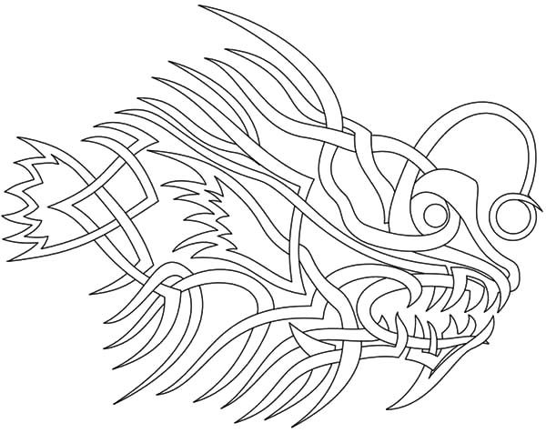 Angler Fish, : Angler Fish Tribal Tattoo Coloring Pages