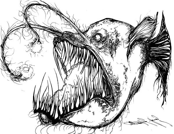 Angler Fish, : Angler Fish is Fish from Hell Coloring Pages