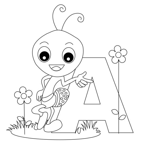 Letter A, : Animal Ant on Learning Letter A Coloring Page
