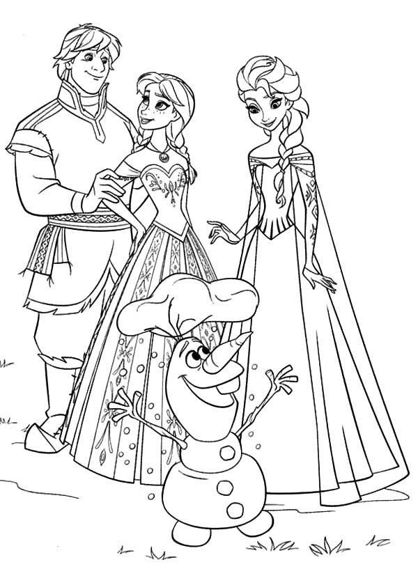 Anna, : Anna Elsa Kristoff and Olaf Coloring Pages