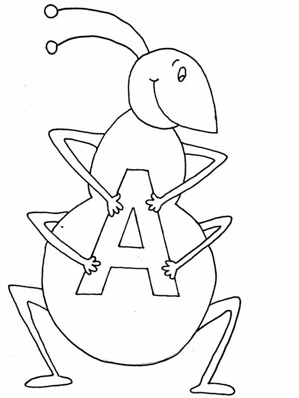 Letter A, : Ant Holding Letter A Coloring Page
