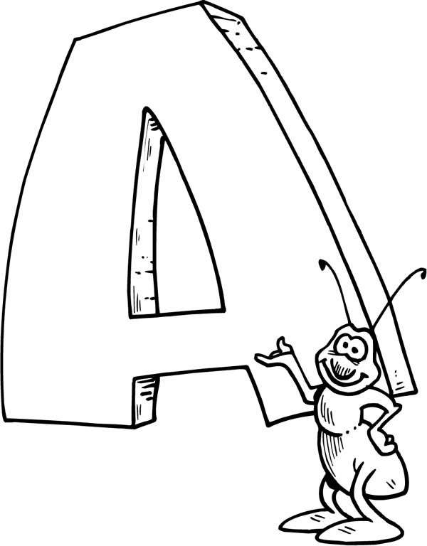 Letter A, : Ant Show Big Letter A Coloring Page