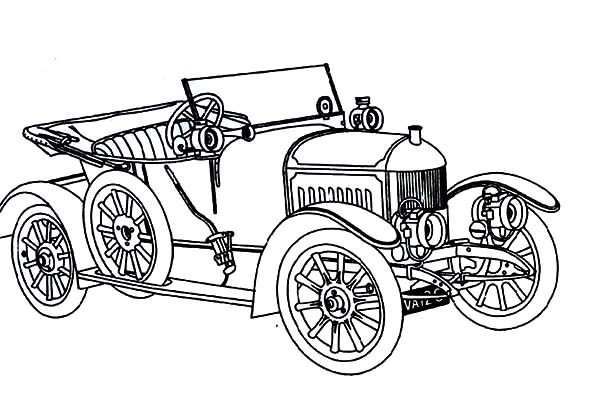 Antique Car, : Antique Car for Collection Coloring Pages