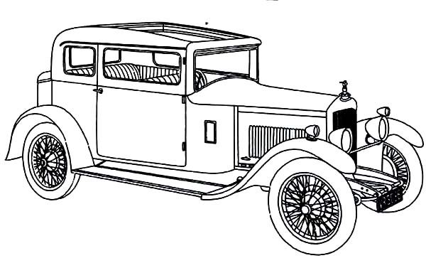Antique Car, : Antique Car with Unique and Chic Design Coloring Pages