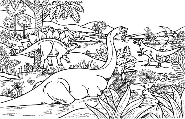 Apatosaurus, : Apatosaurus Among Other Dinosaurus Coloring Pages