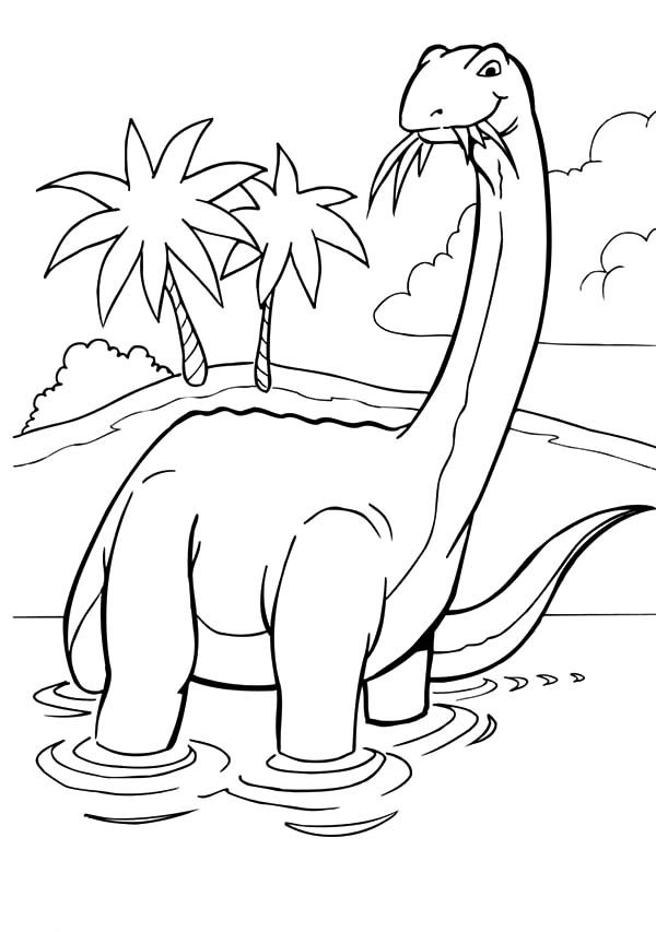 Apatosaurus, : Apatosaurus Chewing Grass Coloring Pages