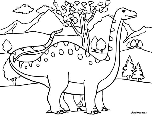 Apatosaurus, : Apatosaurus in the Meadow Coloring Pages