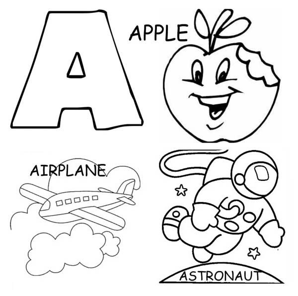 Letter A, : Apple Airplane and Astronout on Learning Letter A Coloring Page