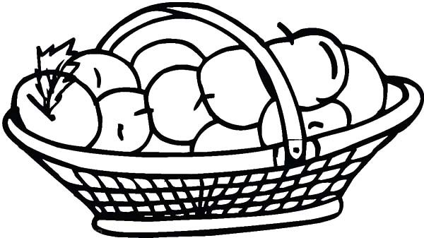 Apple Basket, : Apple Basket Coloring Pages for Kids