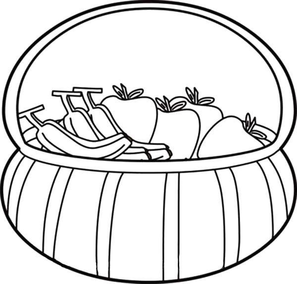 Apple Basket, : Apple Basket Contain Apple and Banana Coloring Pages 2