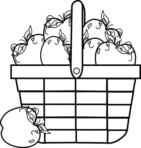 Apple Basket Full Of Coloring Pages