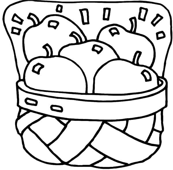 Apple Basket Picture Coloring Pages