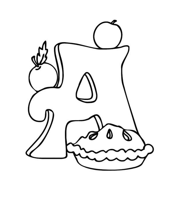 Letter A, : Apple Pie on Learning Letter A Coloring Page