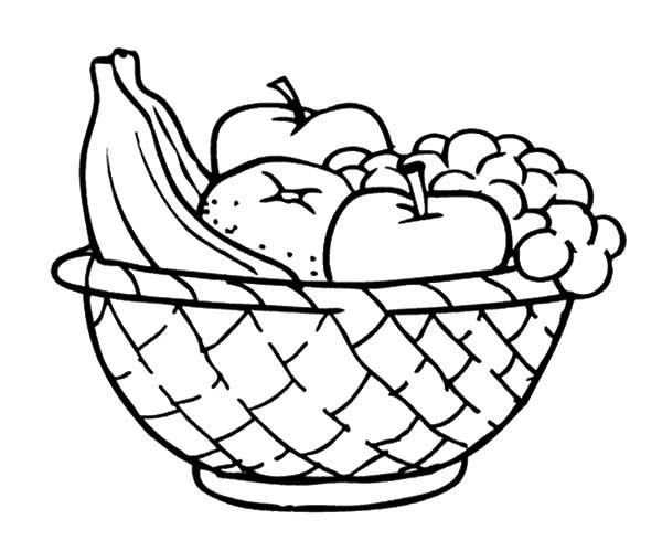 Apple Basket, : Apples and Other Fruits in the Apple Basket Coloring Pages