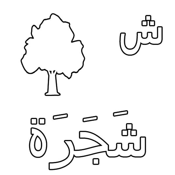 Arabic Alphabet, : Arabic Alphabet Sheen for Tree Coloring Pages